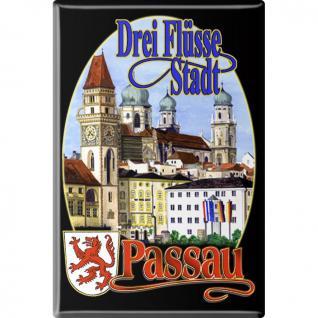 Kühlschrankmagnet - Drei-Flüsse-Stadt Passau - Gr. ca. 8 x 5, 5 cm - 38761 - Küchenmagnet