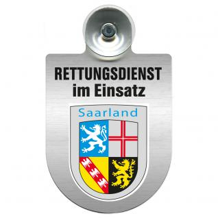 Einsatzschild Windschutzscheibe incl. Saugnapf - Rettungsdienst im Einsatz - 309354-10 - Region Saarland