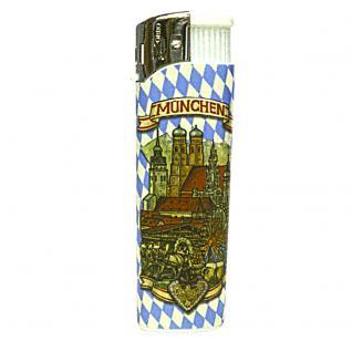 Feuerzeug Anzünder Einwegfeuerzeug - München blau-weiß Rauten - 01149
