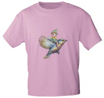 "(12442) Marken- Kinder T- Shirt "" Elfchen auf Vogel"" Gr. 98-146 rosa / 134/146"
