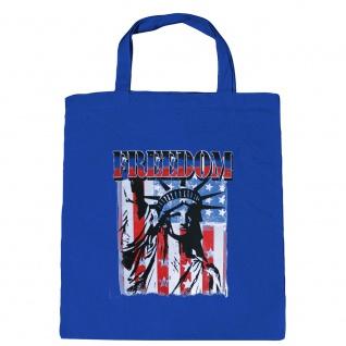 Baumwolltasche mit Print USA Amerika Freedom Freiheitsstatue - B10983 Royal