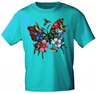 Kinder T-Shirt mit Print - Blumen und Schmetterling - 06993 - türkis - Gr. 134/146