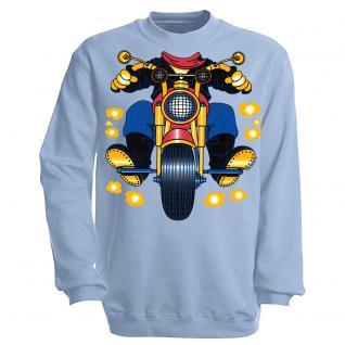 Sweatshirt mit Print - Motorrad - S12780 - versch. farben zur Wahl - Gr. hellblau / XL