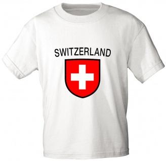 Kinder T-Shirt mit Print - Schweiz Switzerland - 76144 weiß - Gr 98/104