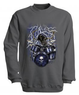 Sweatshirt mit Print - Drummer - S10244 - versch. farben zur Wahl - Gr. grau / XXL