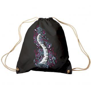 Trend-Bag Turnbeutel Sporttasche Rucksack mit Print -Klavier und Vögel - TB09018 schwarz
