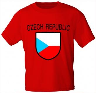 Kinder T-Shirt mit Print - Czech - Tschechien - 76172 - rot - Gr. 122/128