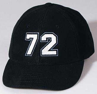 Baumwollcappy - Cap mit gr. Bestickung - Nummer 72 - 69103 schwarz - Baumwollcap Baseballcap Schirmmütze Hut