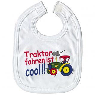 Baby-Lätzchen mit Druckmotiv - Traktor fahren ist cool - 08410 weiß