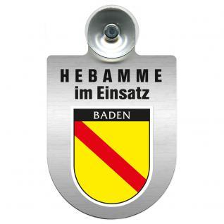 Einsatzschild Windschutzscheibe incl. Saugnapf -Hebamme im Einsatz - 309357-17 - Region Baden