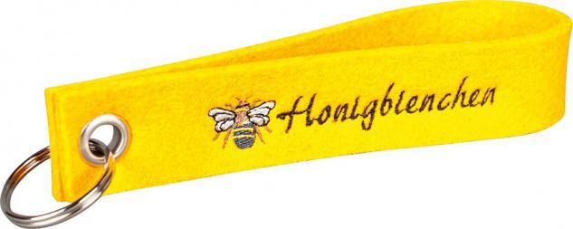 Filz-Schlüsselanhänger mit Stick Honigbienchen Gr. ca. 17x3cm 14474 gelb