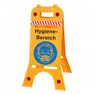 Warnaufsteller - Hygiene-Bereich Mundschutz tragen - 308646/1 - Gr. 28 cm x 66 cm - Warnschild Aufsteller