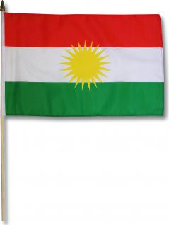 Stockfahne - KURDISTAN - Gr. ca. 45x29cm - 07682 - Länderfahne mit Holzstock Flagge