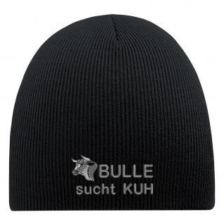 Beanie-Mütze mit Einstickung - BULLE SUCHT KUH - Wollmütze Wintermütze Strickmütze - 54818 schwarz
