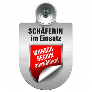 Einsatzschild Windschutzscheibe incl. Saugnapf - Schäferin im Einsatz - 309459 - incl. Regionen nach Wahl