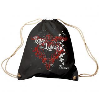 Trend-Bag Turnbeutel Sporttasche Rucksack mit Print - Love Luxury - TB10835 schwarz