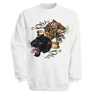 """Sweat- Shirt mit Motivdruck in 6 Farben """" Leopard"""" S12679 weiß / M"""