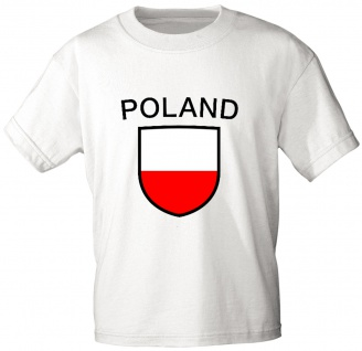 T-Shirt mit Print - Wappen Fahne Flagge Poland Polen - 76432 weiß Gr. M