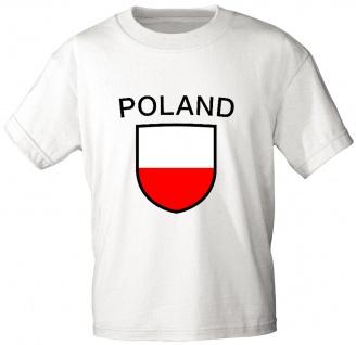 T-Shirt mit Print - Wappen Fahne Flagge Poland Polen - 76432 weiß Gr. S