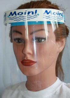 Klarsicht Gesichtschutz Gesichtsvisier aus Kunststoff mit Aufdruck - Moin Moin weiß