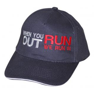 Baseball - Cap bestickt mit - when you run out we run in - 69761-2 blau - Baumwollcap Baseballcap Hut Cappy Schirmmütze