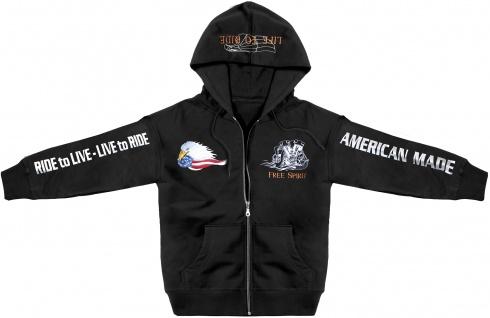 Kapuzenjacke mit Stickerei und Print Live to Ride American Made 132047 Gr. XS-5XL