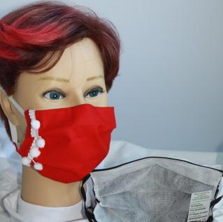 Textil Design Maske ? waschbar, aus Baumwolle, mit zertifiziertem Innenvlies - Schneeflocken - 15889