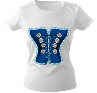 Damen-T-Shirt mit Print - Mieder - 12321 weiß - Gr. XXL