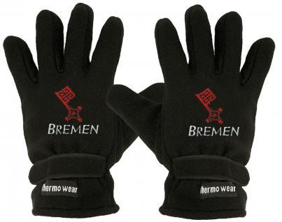 """(40385-56549) Fleece Handschuhe mit Einstickung """" BREMEN"""""""