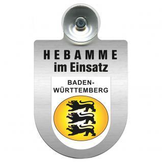 Einsatzschild Windschutzscheibe incl. Saugnapf -Hebamme im Einsatz - 309357-1 - Region Baden-Württemberg