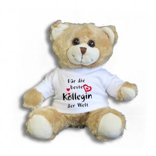Teddybär mit Shirt - Für die beste Kollegin der Welt - Größe ca 26cm - 27174 hellbraun