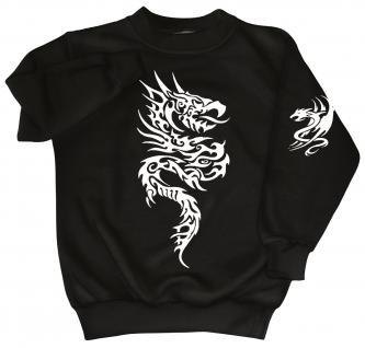 Sweatshirt mit Print - Tattoo Drache - 09020 - versch. farben zur Wahl - schwarz / S