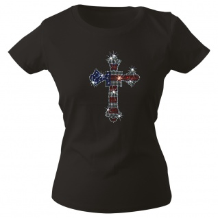 Girly-Shirt mit Strassmotiv - American Flag Kreuz - G12973 schwarz Gr. L