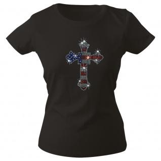 Girly-Shirt mit Strassmotiv - American Flag Kreuz - G12973 schwarz Gr. XS-2XL
