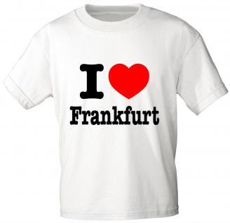 Kinder T-Shirt - I love FRANKFURT - 06939 - weiß - Gr. 98/104