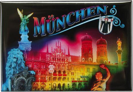 Kühlschrankmagnet - MÜNCHEN bei Nacht - Gr. ca. 8 x 5, 5 cm - 38754 - Küchenmagnet Magnet