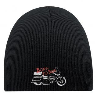 Beanie-Mütze mit Einstickung - BORN TO RIDE - Wollmütze Wintermütze Strickmütze - 54566 schwarz