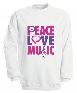 Sweatshirt mit Print - Peace Love Musik - S09017 - versch. farben zur Wahl - Gr. weiß / XL - Vorschau 2