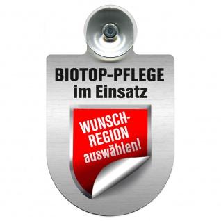 Einsatzschild mit Saugnapf - Biotop Pflege im Einsatz incl. Regionenwappen nach Wahl 393808