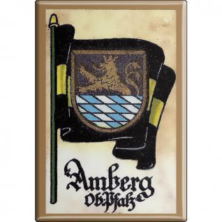 Küchenmagnet - Wappen Amberg - Gr. ca. 8 x 5, 5 cm - 37502 - Magnet Kühlschrankmagnet