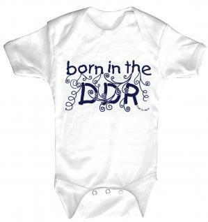 Babystrampler mit Print ? born in the DDR ? 08390 weiß - 0-24 Monate