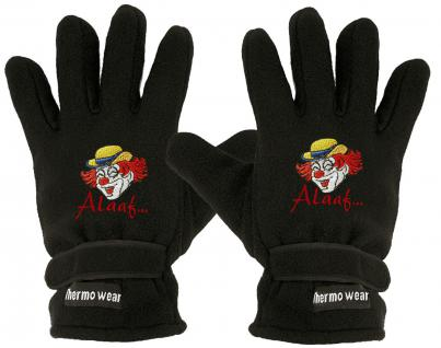 "(40385-56545) Fleece Handschuhe mit Einstickung "" CLOWN - ALAAF"""