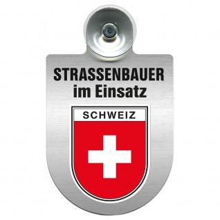 Einsatzschild Windschutzscheibe incl. Saugnapf - Straßenbauer im Einsatz - 309464 Region Schweiz