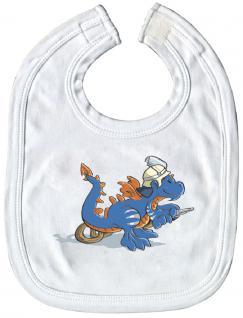 Schlabberlatz Baby-Lätzchen mit Druckmotiv - Feuerwehr Drache - 12723 weiß