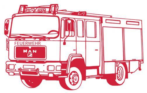 Aufkleber Wandapplikation - Feuerwehrauto Feuerwehrwagen - AP1008 rot / 90cm
