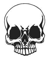 Aufkleber Applikation - Totenkopf Skull Schädel - AP1705 schwarz / 12cm