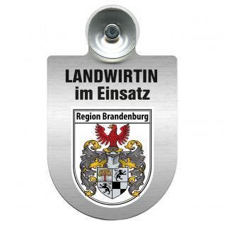 Einsatzschild Windschutzscheibe incl. Saugnapf - Landwirtin im Einsatz - 309738-4 Region Brandenburg