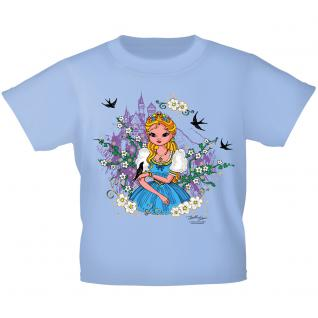 Kinder T-Shirt mit Glitzerprint - Prinzessin und Schloss - 12271 - blau / 122/128
