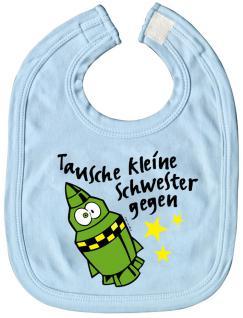 Baby-Lätzchen mit Druckmotiv -Tausche kleine Schwester... - 07017 - hellblau