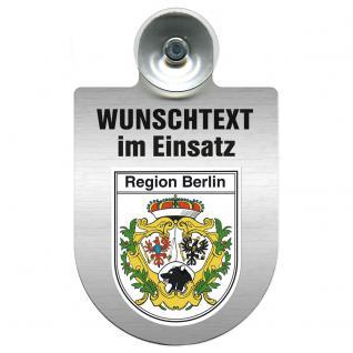 Einsatzschild für Windschutzscheibe incl. Saugnapf - Wunschtext...Eigener Text - Wappen nach Wahl - 309470 Region Berlin